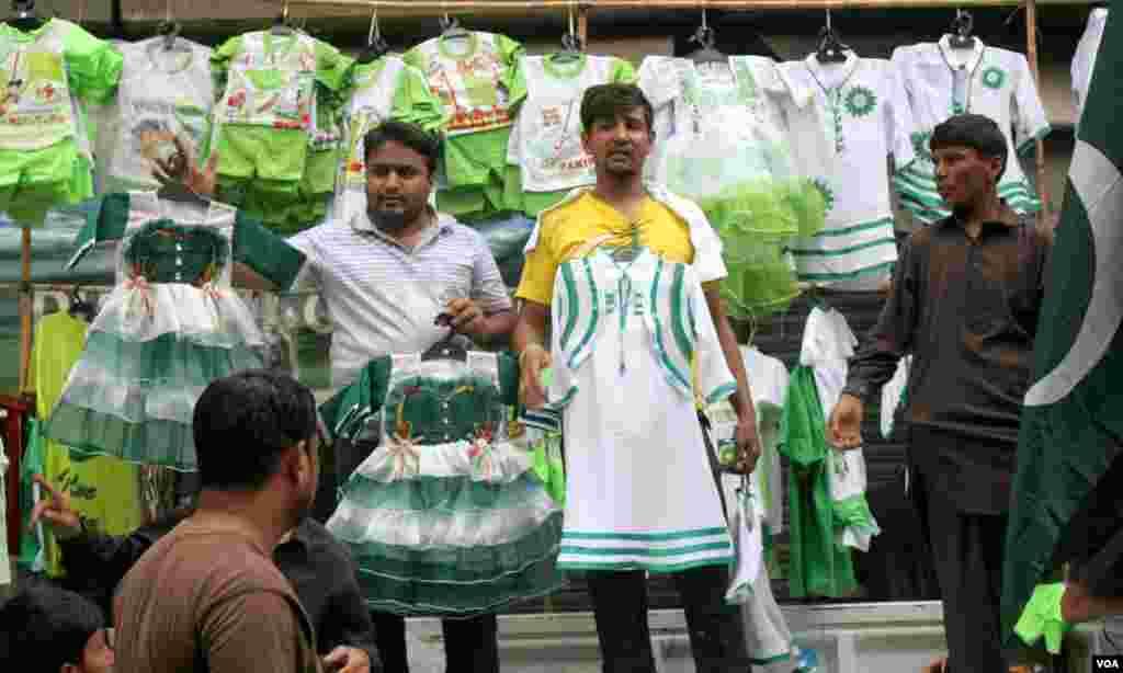 پاکستان کے قومی پرچم سے مناسبت رکھتی فراکیں اور سوٹ
