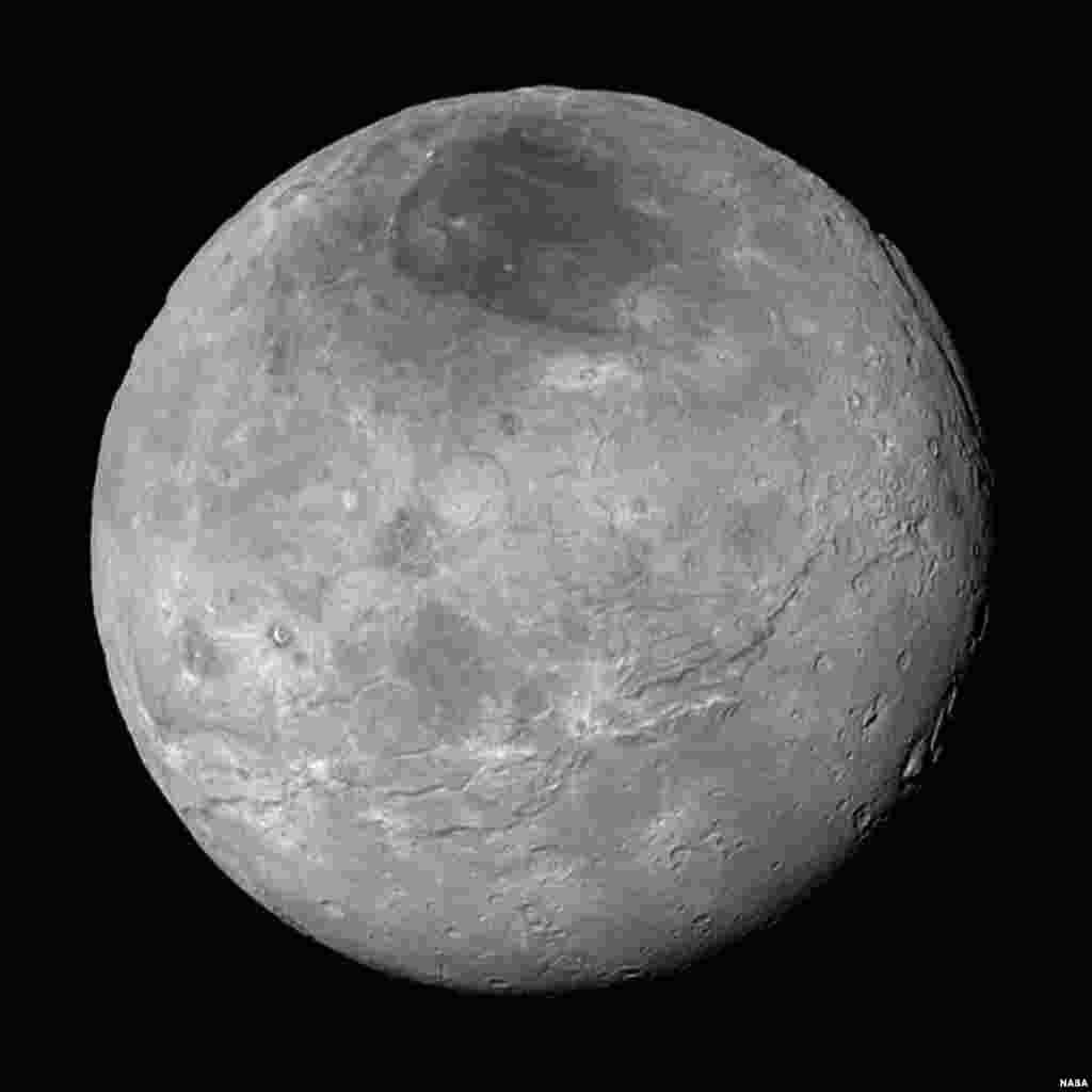 This image of Pluto's largest moon Charon, taken by NASA's New Horizons spacecraft 10 hours before its closest approach to Pluto on July 14, 2015 from a distance of 290,000 miles (470,000 kilometers), is a recently downlinked, much higher quality version