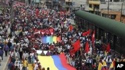 Foto de archivo de una manifestación de la oposición contra la mina de cobre El Mirador, en marzo de 2012.