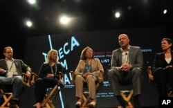 "A panel discussion about ""The List"" at the Tribeca Film Festival (left to right): George Packer, staff writer for ""The New Yorker""; director Beth Murphy; Anna Khanaka, one of the Iraqis that Kirk Johnson coordinated asylum for; Paul Rieckhoff, founder of"