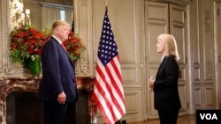 美国总统特朗普在布宜诺斯艾利斯接受美国之音特约撰稿人格莱塔·范·萨斯特伦专访。(2018年11月30日)