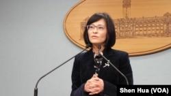 台湾外交部次长史亚平3月15日在总统府(美国之音申华拍摄)