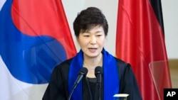 지난해 3월 박근혜 한국 대통령이 독일 드레스덴공대에서 기념연설을 하고 있다.