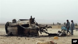 The lifeless body of a dog is seen as Afghan police officers, right, look at the wreckage of a car after an explosion in the Arghandab district of Kandahar province, Afghanistan, February 27, 2011