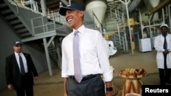 FILE - U.S. President Barack Obama at participating company Faffa Food factory in Addis Ababa, Ethiopia.