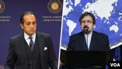 بهرام قاسمی و حسین مفت اغلو سخنگویان وزارت خارجه ایران و ترکیه