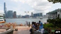 一名外傭在香港中環天星碼頭。(資料圖片)