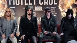 From left, Vince Neil,Nikki Sixx, Tommy Lee, and Mick Mars seen at Motley Crue Press Conference, Jan. 28, 2014, in Los Angeles.