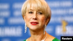 Actress Helen Mirren looks on during a news conference to promote the movie 'Woman In Gold' at the 65th Berlinale International Film Festival, in Berlin Feb. 9, 2015.