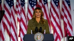 First lady Melania Trump speaks on the second day of the Republican National Convention from the Rose Garden of the White House, Tuesday, Aug. 25, 2020, in Washington. (AP Photo/Evan Vucci)