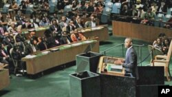 U.S. President Barack Obama addresses world leaders during the General Assembly at the United Nations, New York, 23 Sept. 2010