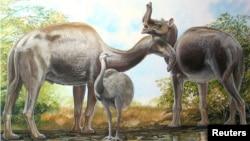 An artist's rendering shows the South American native ungulate Macrauchenia.