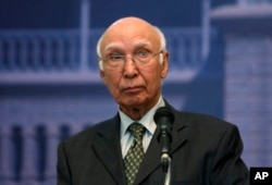 FILE - Pakistani foreign policy chief Sartaj Aziz.