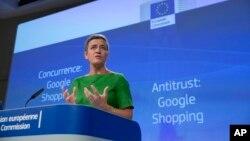 مارگریت وستاگر کمیسر اتحادیه اروپا در حوزه رقابت تجاری - ۲۷ ژوئن ۲۰۱۷