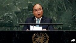 Ông Nguyễn Xuân Phúc đọc diễn văn tại Liên Hiệp Quốc năm 2018 lúc còn là thủ tướng chính phủ.