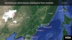 Cənubi Koreya, Şimali Koreya və Rusiyanın limanlarının göstərildiyi xəritə