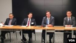 美台商业协会与海国图智研究所专家讨论一带一路倡议与台湾的新南向政策(美国之音钟辰芳拍摄)