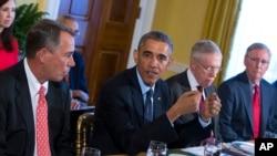 奧巴馬總統星期五與國會領導人舉行了面對面的會談。