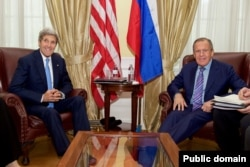 U.S. Secretary of State John Kerry shares a laugh with Russian Foreign Minister Sergey Lavrov on June 30, 2015, in Vienna, Austria, before a bilateral meeting amid P5+1 negotiations with Iranian leaders about the future of their nuclear program. (Photo: State Department)