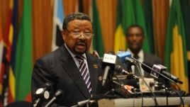 Chairman Jean Ping addresses participants of the opening session of the African Union Peace and Security council meeting in Addis Ababa, July 14, 2012.