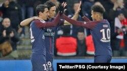 Paris SG a largement battu Strasbourg (5-2) lors de la 26e journée du Championnat de France, samedi, au Parc des Princes, 17 février 2018. (Twitter/PSG)