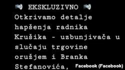 Najava BIRN Srbija za vest o hapšenju uzbunjivača A.O. iz Krušika, Foto: facebook