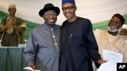 Goodluck Jonathan da Muhammadu Buhari.