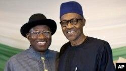 Rais Goodluck Jonathan wa Nigeria na mpinzani wake Jen. Muhammadu Buhari