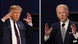 In this combination image of two photos showing both President Donald Trump, left, and former Vice President Joe Biden during the first presidential debate Tuesday, Sept. 29, 2020, at Case Western University and Cleveland Clinic, in Cleveland, Ohio. (AP P
