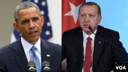 Presiden AS Barack Obama (kiri) melakukan pembicaraan telepon dengan Presiden Turki Recep Tayip Erdogan Jumat (19/2).
