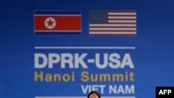 越南河内有关美朝峰会的广告牌