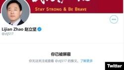 北京历史学者章立凡3月13日发推称其账号遭中国外交部一发言人屏蔽。(推特截图)