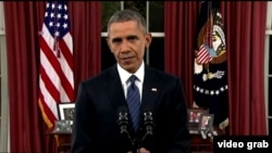 奥巴马电视讲话强调继续打击恐怖主义(VOA视频截图)