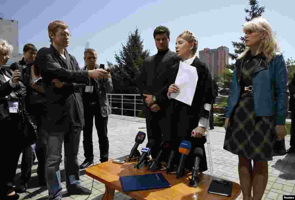 Ukrainian presidential candidate Yulia Tymoshenko speaks during a briefing in Luhansk, eastern Ukraine April 24, 2014.