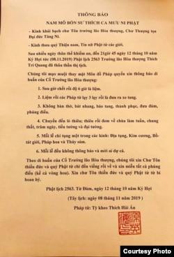 Thông báo của chùa Từ Đàm.