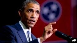 바락 오바마 미국 대통령이 9일 테네시주 펠리시피주 커뮤니티 대학에서 무료 2년제 대학 설립 구상을 발표하고 있다.