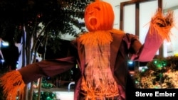 A Pumpkin-Headed Halloween Scarecrow