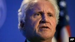 FILE - General Electric CEO Jeff Immelt speaks during a news conference in Boston, April 4, 2016. General Electric Co. said Monday it made a series of deals with Saudi Arabia worth over $1.4 billion as part of the kingdom's ambitious plan to wean itself off crude oil.