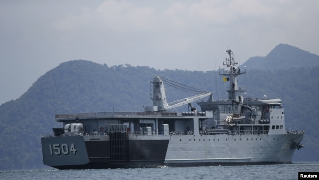 A Malaysian navy vessel patrols waters near Langkawi Island, on May 16, 2015.