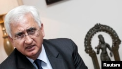 India's foreign minister Salman Khurshid during an interview with Reuters in Santiago, February 5, 2013 file photo.