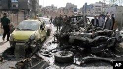 大马士革街道一处爆炸现场(5月5日)