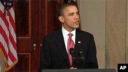 លោកប្រធានាធិបតី Barack Obama ថ្លែងសុន្ទរកថានៅសេតវិមាន។