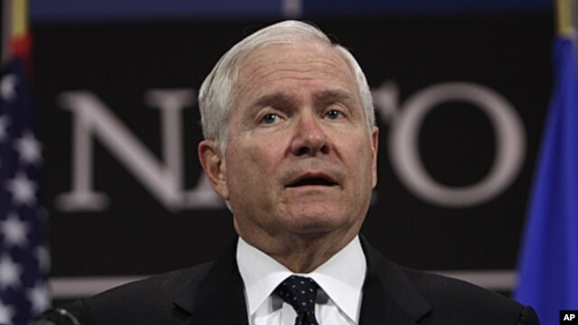 US Defense Secretary Robert Gates speaks during a media conference after a meeting of NATO defense ministers at NATO headquarters in Brussels, June 9, 2011