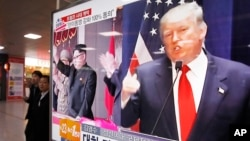 A TV screen shows pictures of U.S. President Donald Trump, right, and North Korean leader Kim Jong Un, at the Seoul Railway Station in Seoul, South Korea.