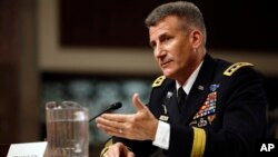 FILE - Army Lt. Gen. John Nicholson testifies on Capitol Hill in Washington, Jan. 28, 2016, before the the Senate Armed Services Committee.