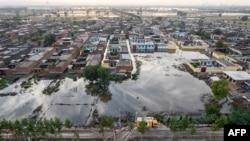 中國陝西晉中遭受水災的地區。(2021年10月10日)