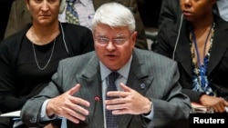 FILE - Herve Ladsous, head of the U.N. Department of Peacekeeping Operations, speaks to Security Council representatives in New York, Oct.14, 2014.