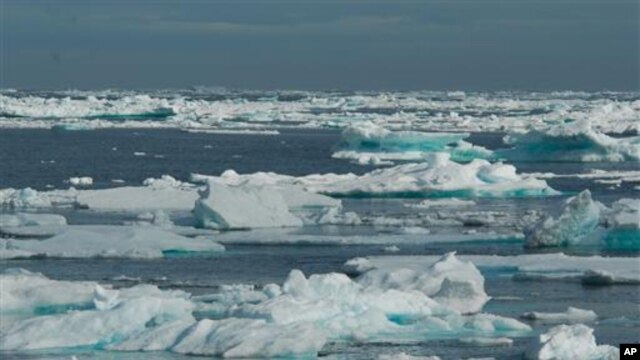 Ice covering the ocean surface at lower Baffin Island, area around Hudson Strait and the Labrador Sea (2008 file photo)