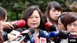 台湾总统蔡英文在2015年以民进党主席的身份访问美国。图为蔡英文在华盛顿接受媒体采访。(资料照片)