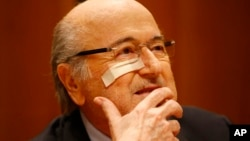 FILE - Suspended FIFA President Sepp Blatter attends a news conference in Zurich, Switzerland, Dec. 21, 2015, after he was banned for 8 years from all football related activities.